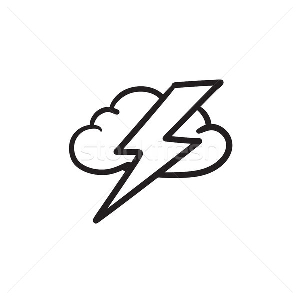 Nube sketch icona vettore isolato Foto d'archivio © RAStudio