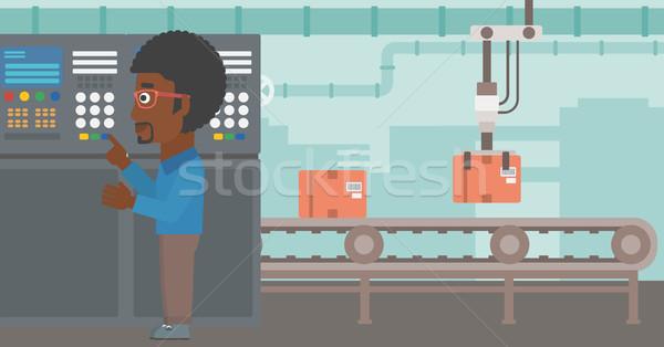 エンジニア 立って コントロールパネル 男 作業 ストックフォト © RAStudio