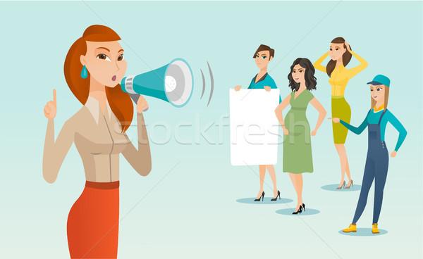 Kaukázusi fehér feminista kiált hangfal fiatal Stock fotó © RAStudio