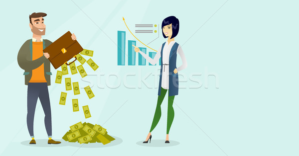 Businessman shaking out money from his briefcase. Stock photo © RAStudio