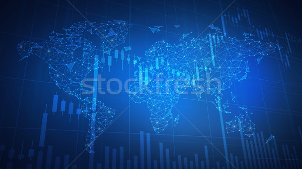 Polygon world map hud background with bull stock chart. Stock photo © RAStudio