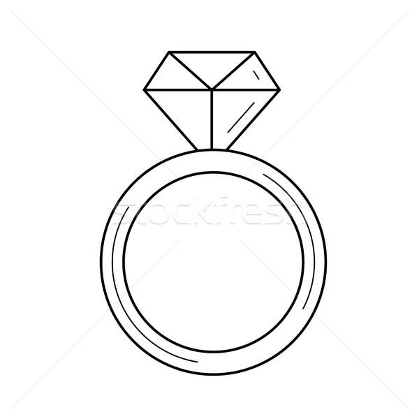 Bague en diamant vecteur ligne icône isolé blanche Photo stock © RAStudio