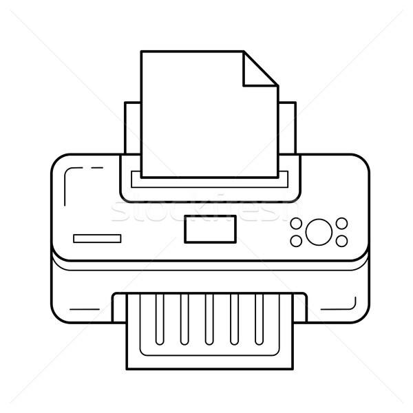 Drukarki line ikona wektora odizolowany biały Zdjęcia stock © RAStudio
