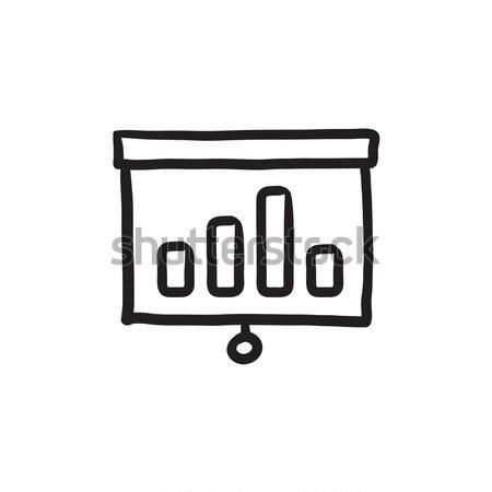 Projektor képernyő vektor vonal ikon izolált Stock fotó © RAStudio