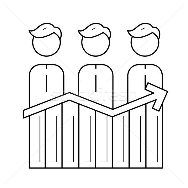Businessmen and profit graph vector line icon. Stock photo © RAStudio