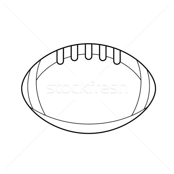 мяч для регби вектора линия икона изолированный белый Сток-фото © RAStudio