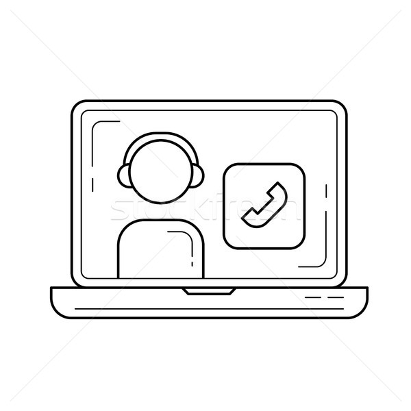 Video call vector line icon. Stock photo © RAStudio