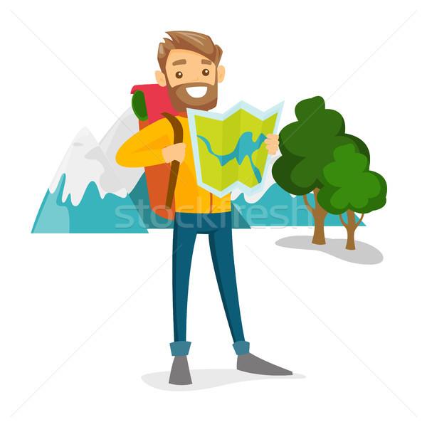 Podróżnik plecak patrząc Pokaż młodych Zdjęcia stock © RAStudio