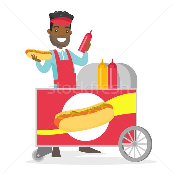 Sokak sosisli sandviç genç önlük Stok fotoğraf © RAStudio
