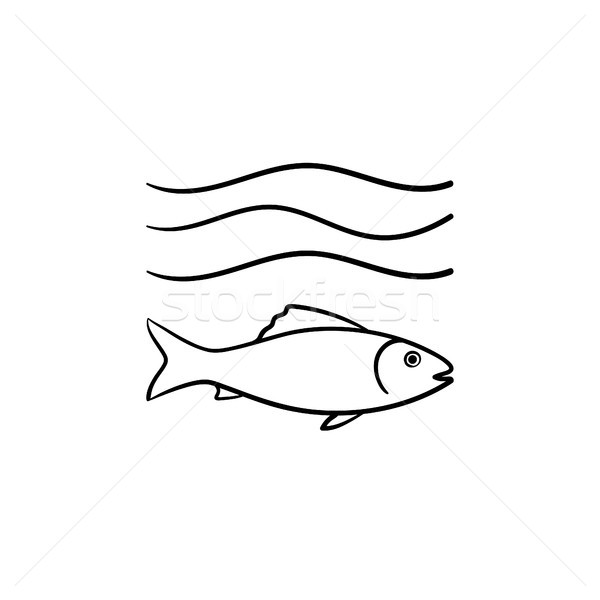 Fish under sea wave hand drawn sketch icon. Stock photo © RAStudio