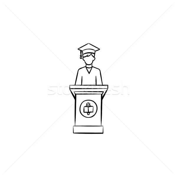 Сток-фото: университета · окончания · студент · рисованной · икона