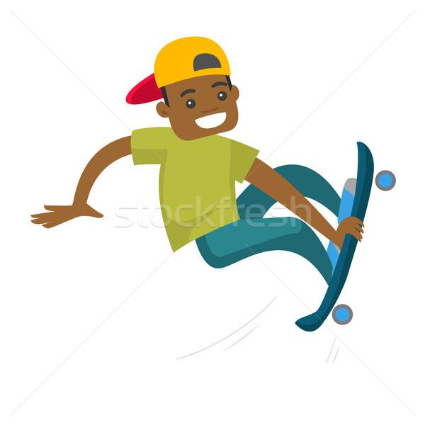 黒人男性 ライディング スケート 小さな スポーツマン スケート ストックフォト © RAStudio