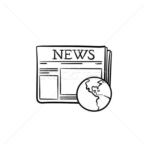 A newspaper with a globe hand drawn outline doodle icon. Stock photo © RAStudio