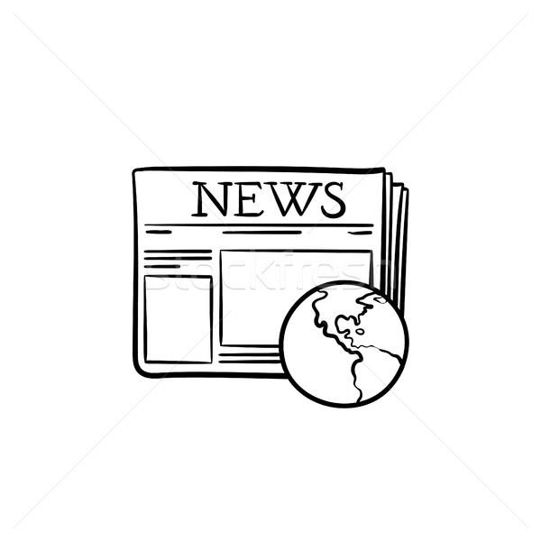 Journal monde dessinés à la main doodle icône Photo stock © RAStudio