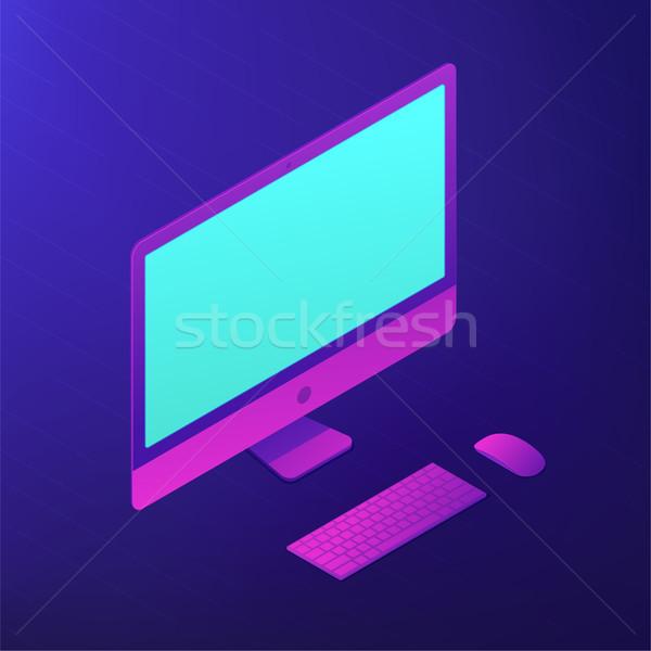 Ordenador personal vector 3d Screen teclado Foto stock © RAStudio