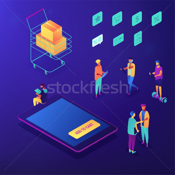 Mobile shopping and online order isometric set. Stock photo © RAStudio