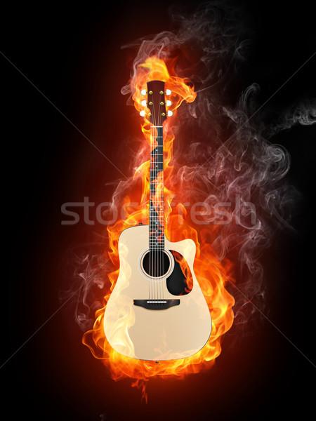 Akustik gitar yangın alev yalıtılmış siyah müzik Stok fotoğraf © RAStudio