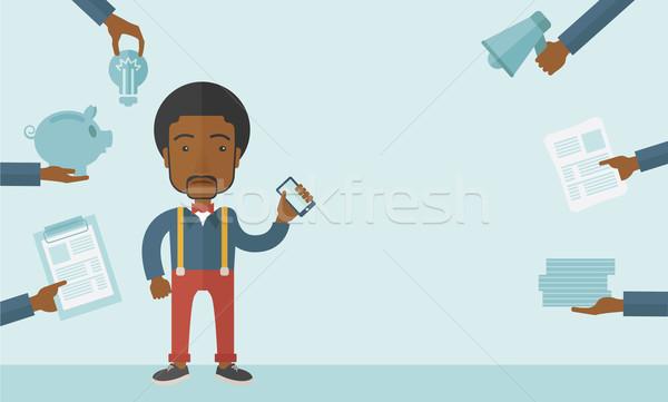 Siyah adam el görev evrak Stok fotoğraf © RAStudio