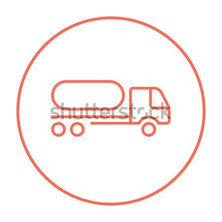 Brandstof vrachtwagen dun lijn icon web Stockfoto © RAStudio