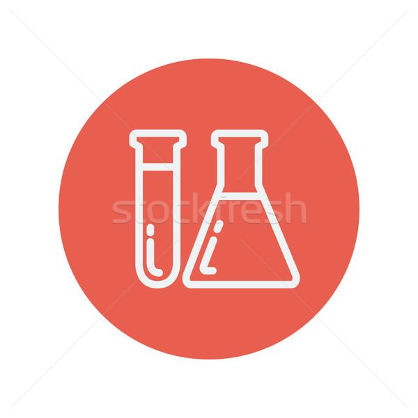 пробирку химический стакан тонкий линия икона медицинской Сток-фото © RAStudio