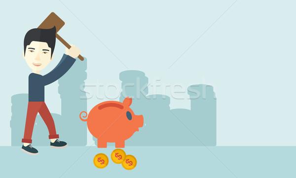 Foto stock: Chinês · cara · martelo · piggy · bank · empresário
