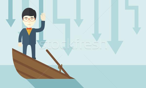 Mislukking chinese zakenman permanente zinken boot Stockfoto © RAStudio