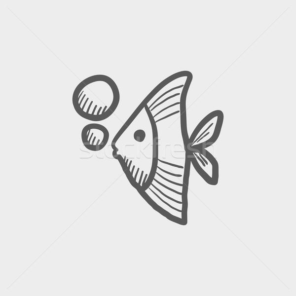 тропические рыбы эскиз икона веб мобильных рисованной Сток-фото © RAStudio