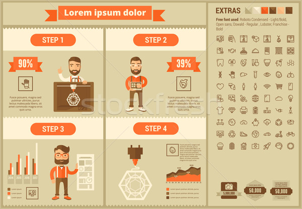 Stock photo: Three D printing flat design Infographic Template