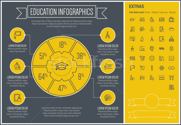 Education Line Design Infographic Template Stock photo © RAStudio