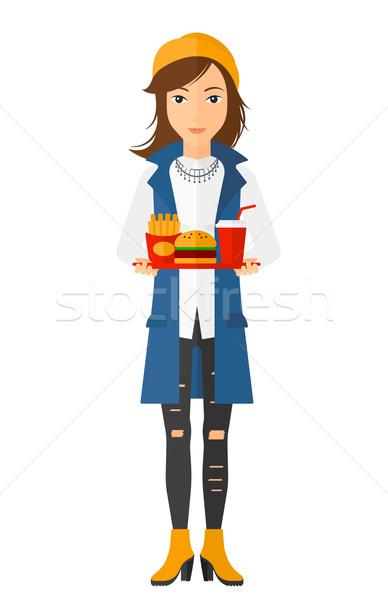 Stockfoto: Vrouw · fast · food · dienblad · vol