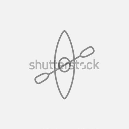 Kayak with paddle line icon. Stock photo © RAStudio