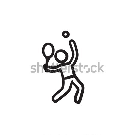 Man playing big tennis line icon. Stock photo © RAStudio