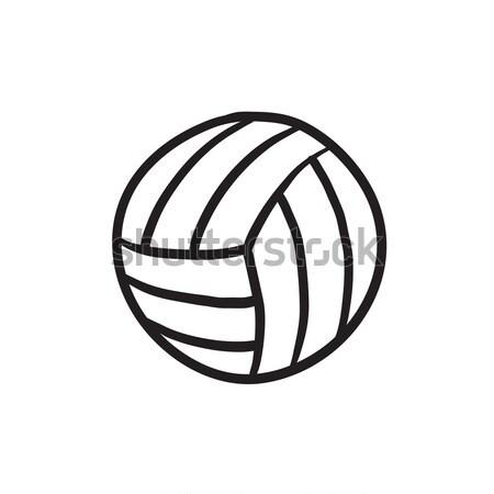 Voleibol bola linha ícone teia móvel Foto stock © RAStudio
