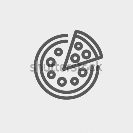 Whole pizza with slice line icon. Stock photo © RAStudio