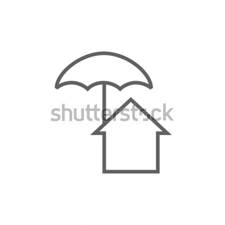 Stockfoto: Huis · paraplu · lijn · icon · hoeken · web
