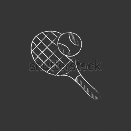 Tennis racket and ball sketch icon. Stock photo © RAStudio