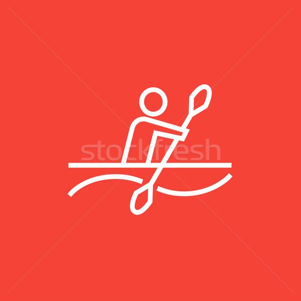 Homem caiaque linha ícone teia Foto stock © RAStudio