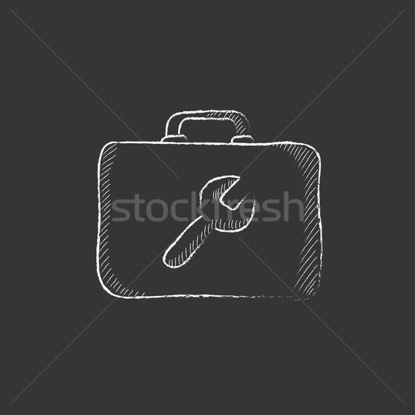 Toolbox krijt icon sleutel teken Stockfoto © RAStudio