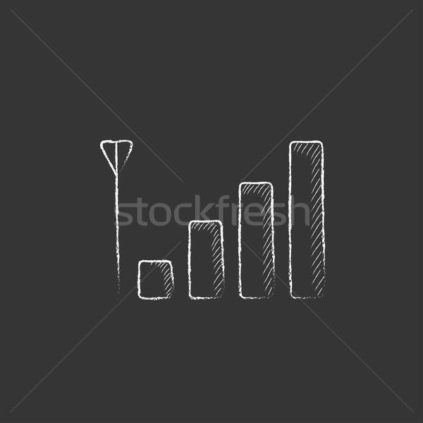 Teléfono móvil senal signo tiza icono Foto stock © RAStudio