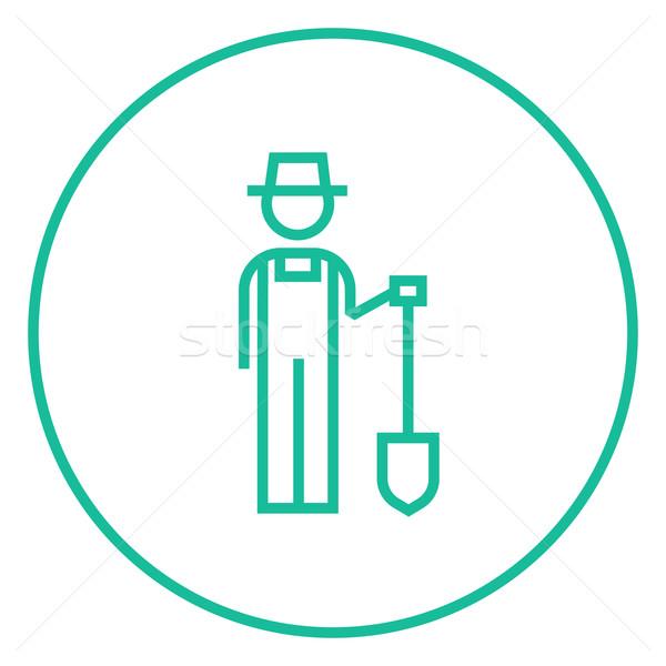 Landbouwer schop lijn icon hoeken web Stockfoto © RAStudio