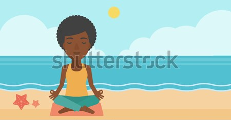 Man mediteren lotus pose strand vector Stockfoto © RAStudio