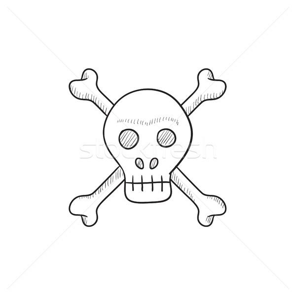 череп крест костях эскиз икона вектора Сток-фото © RAStudio