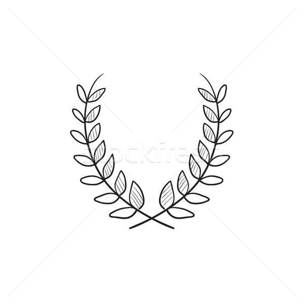 Babér koszorú rajz ikon vektor izolált Stock fotó © RAStudio