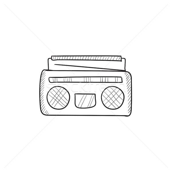 Rádió kazetta játékos rajz ikon vektor Stock fotó © RAStudio