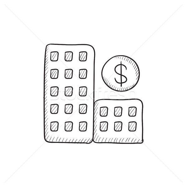 Condominium with dollar symbol sketch icon. Stock photo © RAStudio