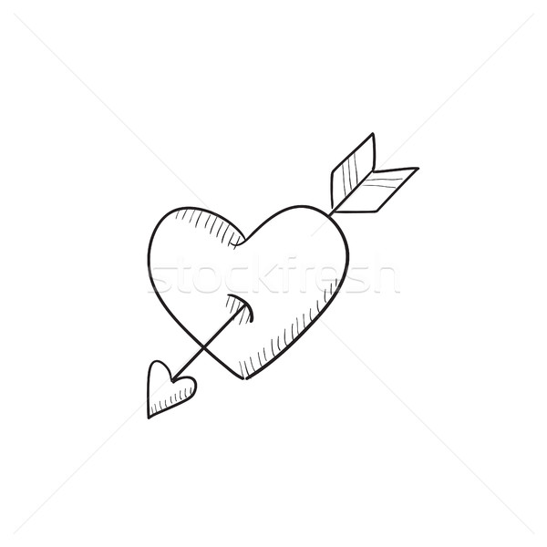 Heart pierced with arrow sketch icon. Stock photo © RAStudio