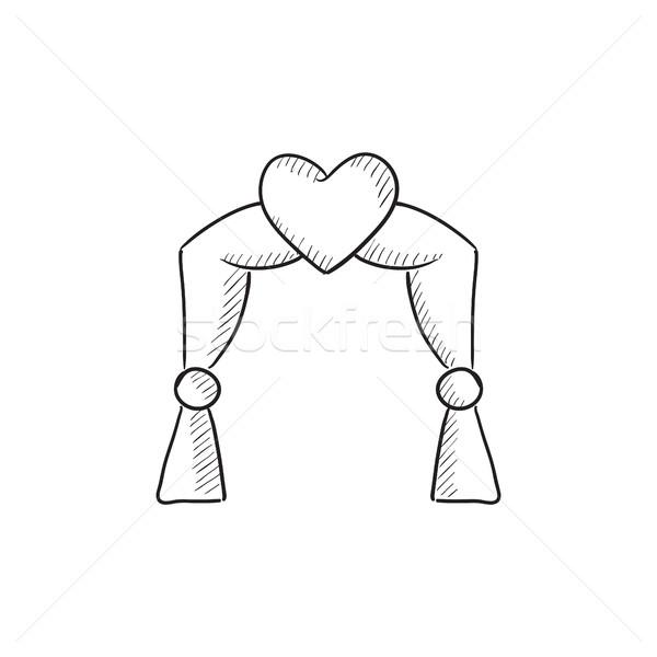 Esküvő ív rajz ikon vektor izolált Stock fotó © RAStudio