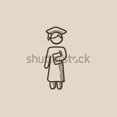 Stock photo: Graduate sketch icon.