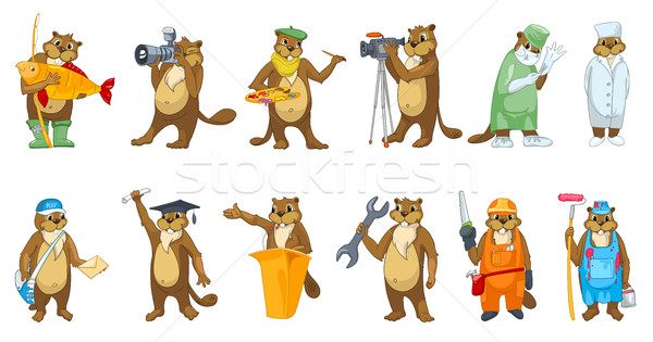 Vector set of beavers profession illustrations. Stock photo © RAStudio