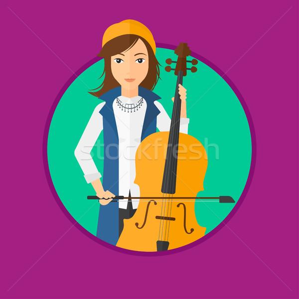 Kadın oynama viyolonsel genç kadın viyolonsel çalan müzisyen klasik müzik Stok fotoğraf © RAStudio